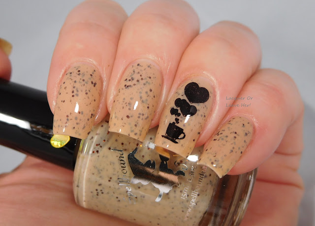 Spellbound Nails Eggnog Latte stamped with UberChic Beauty Coffee Addict and Messy Mansion Carbon