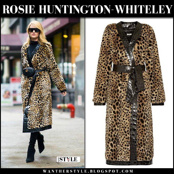 Rosie Huntington-Whiteley in leopard faux fur attico coat and gucci gg belt bag model street style march 29