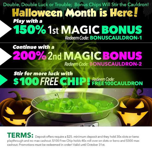 Uptown Aces casino Halloween bonus pack and $100 FREE