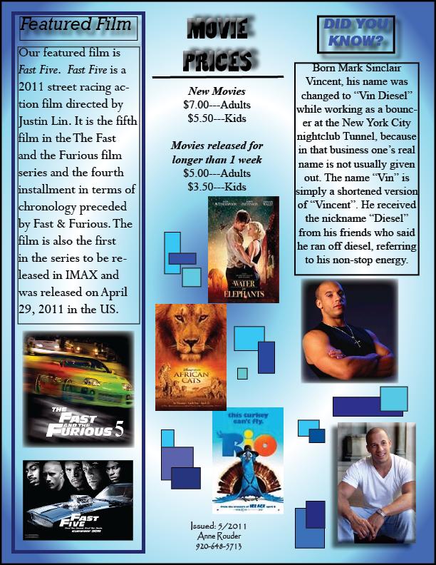desktop publishing  movie times newsletter front
