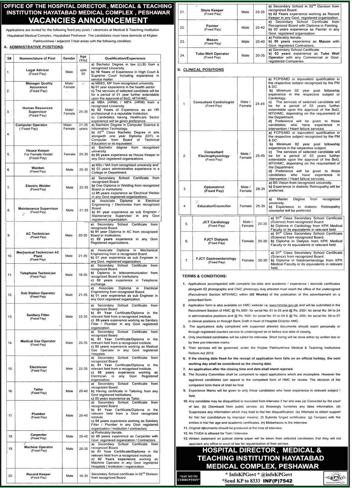 Medical & Teaching Institution Hayatabad Medical Complex Peshawar jobs