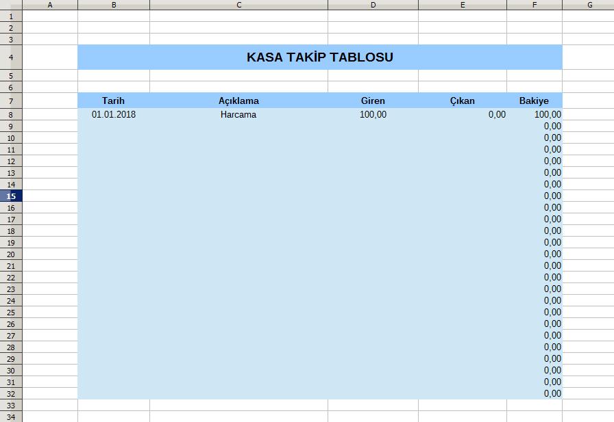 Excel Kasa Takip Programı Excel Programları