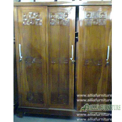 lemari minimalis jati 3 pintu sliding ukir