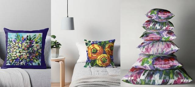 Pillows with Impressionistic Floral Designs Artist Irina Sztukowski