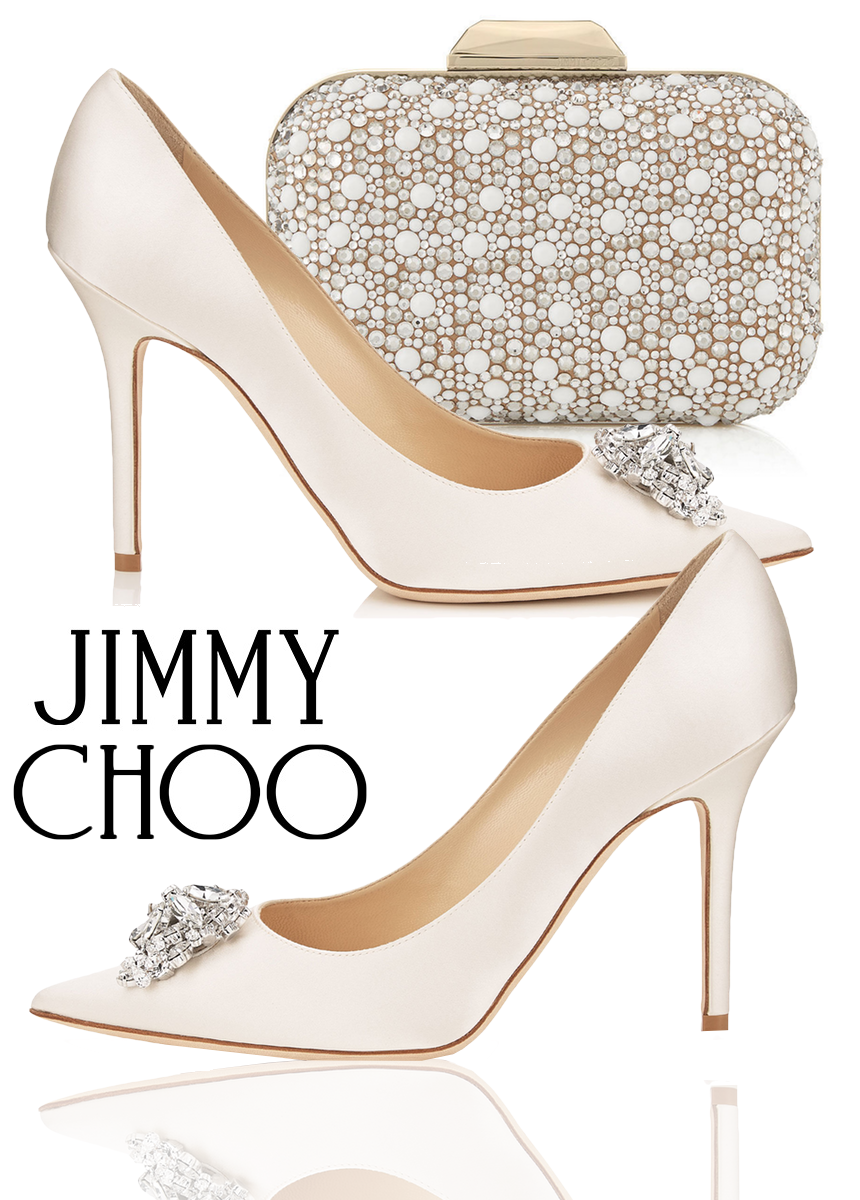 Jimmy Choo Abel Ivory Satin Pointy Toe Pumps with Crystal Detail