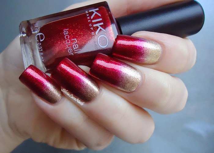 Amato Silvia Lace Nails: Gold and red gradient AK41