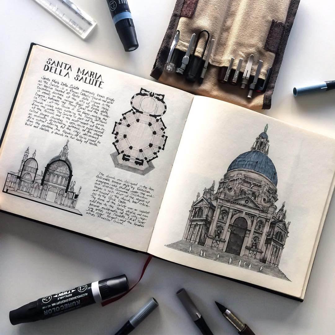 14-Santa-Maria-della-Salute-Oğuzhan-Çengel-European-Heritage-Architectural-Drawings-www-designstack-co
