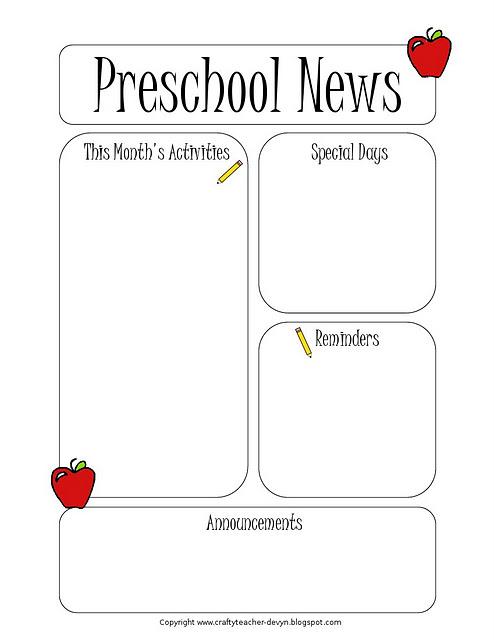 Newsletter Templates - preschool newsletter template
