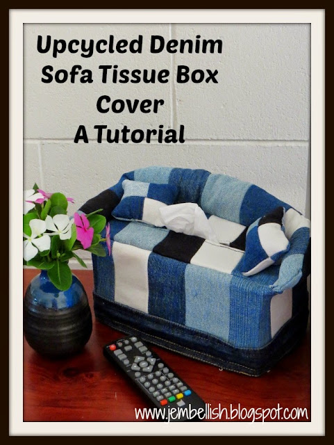 Upcycled Denim Sofa Tissue Box Cover