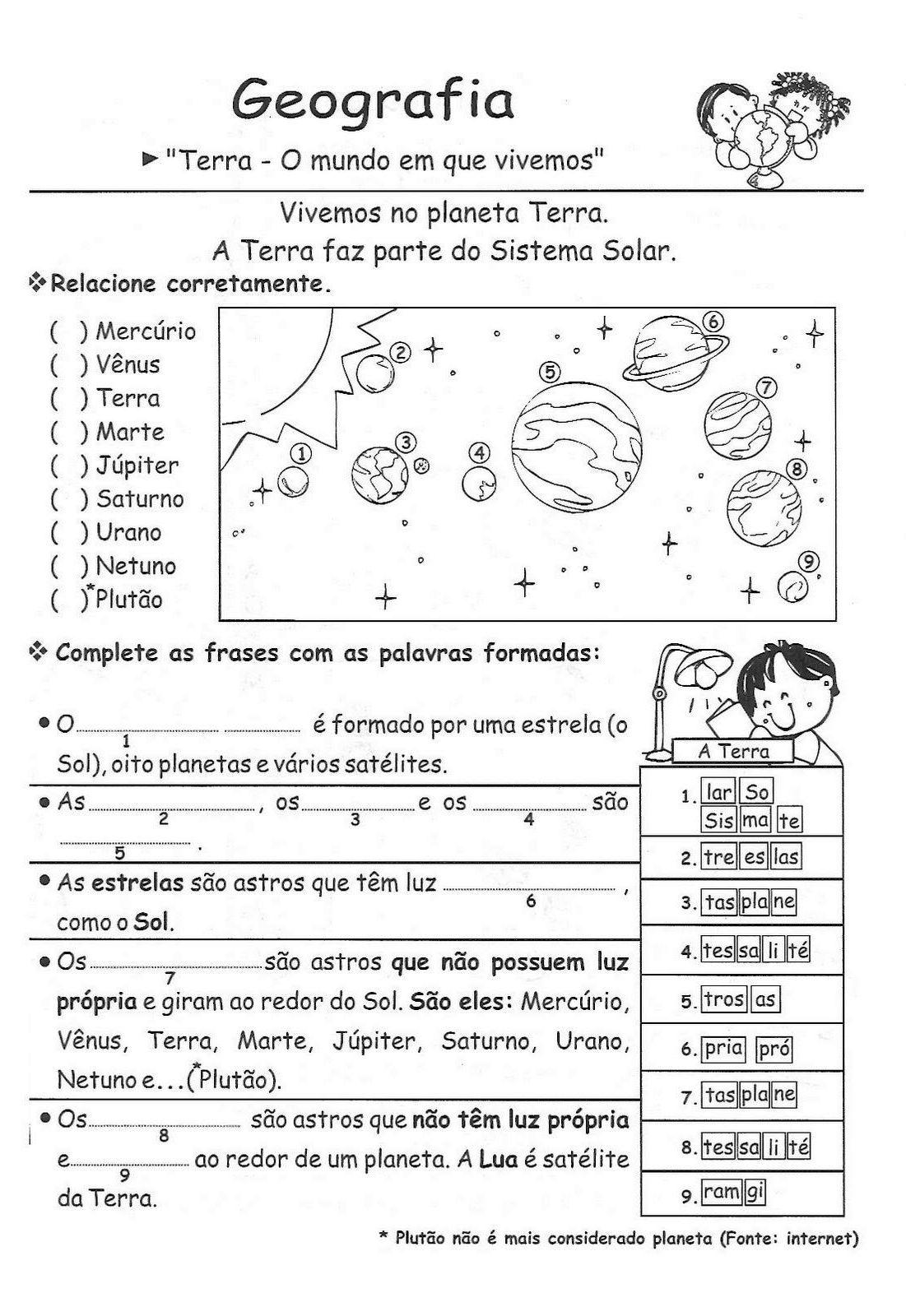 Top Escola Saber: Atividades sobre o Planeta Terra RY53