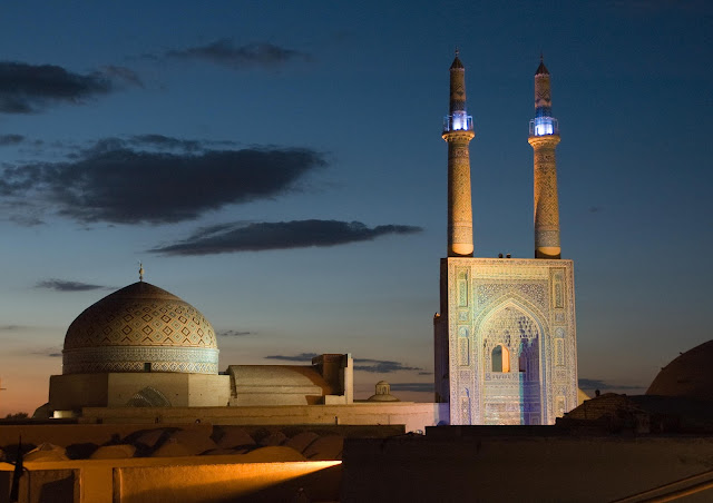 Minarets of Jaame mosque of Yazd.