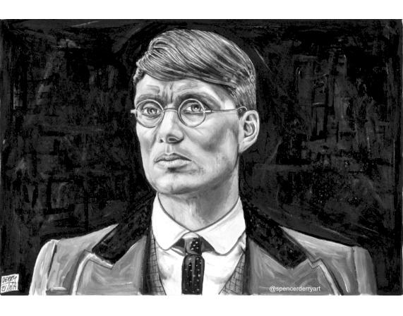 Fine Art Pencil & Paint on paper of Peaky Blinders Actor Cillian Murphy