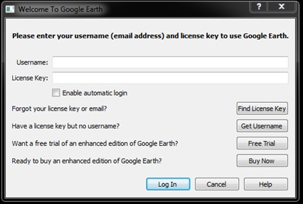 google earth prop free but asking for license key