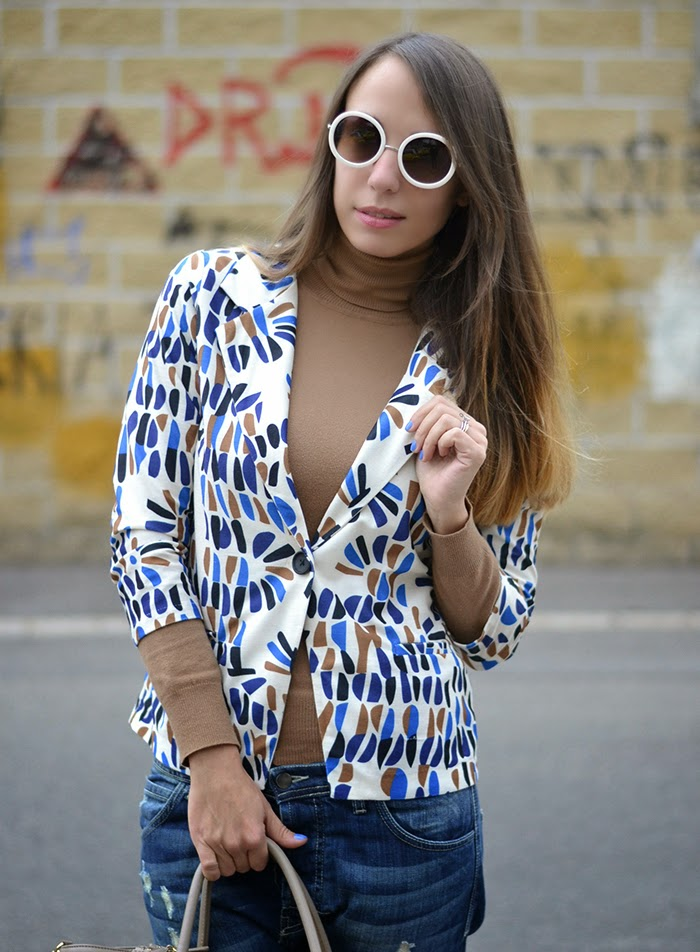 5694e3654beb blazer fantasia bianco blu marrone