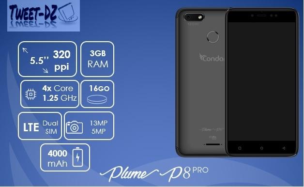 """كوندور تزيح الستار عن هاتفها المنتظر """"Plume P8 Pro"""" ببطارية 4000 mAh"""