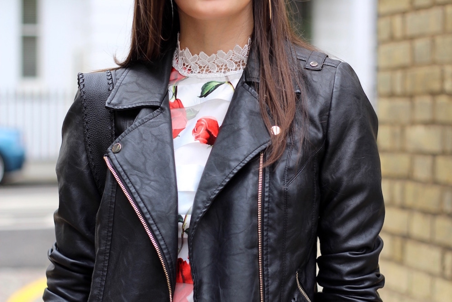 peexo leather jacket floral dress
