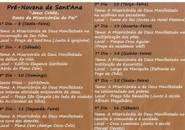 Paróquia de Sant`Anna prepara festa da padroeira com pré-novena em vários pontos do bairro