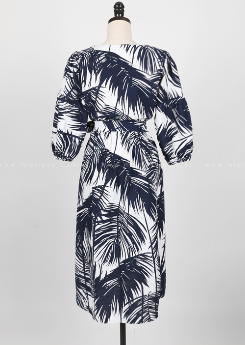 Leaf Pattern Self-Tie Belt Midi Dress
