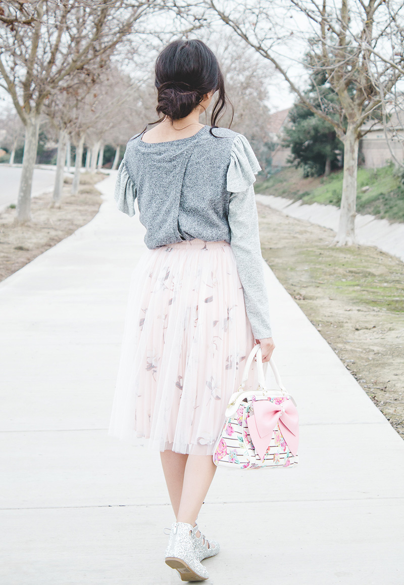 ruffle sweater refashion modest outfit back view