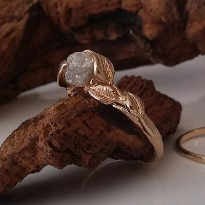 Engagement Rings, diamond engagement rings, promise ring, raw stone engagement ring,raw diamond ring, twig engagement ring, twig ring, leaf ring, raw diamond ring
