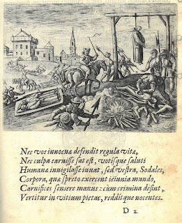 Engraving depicting a scene of violence. A monk is shown being hung while a fire is built to burn bodies.