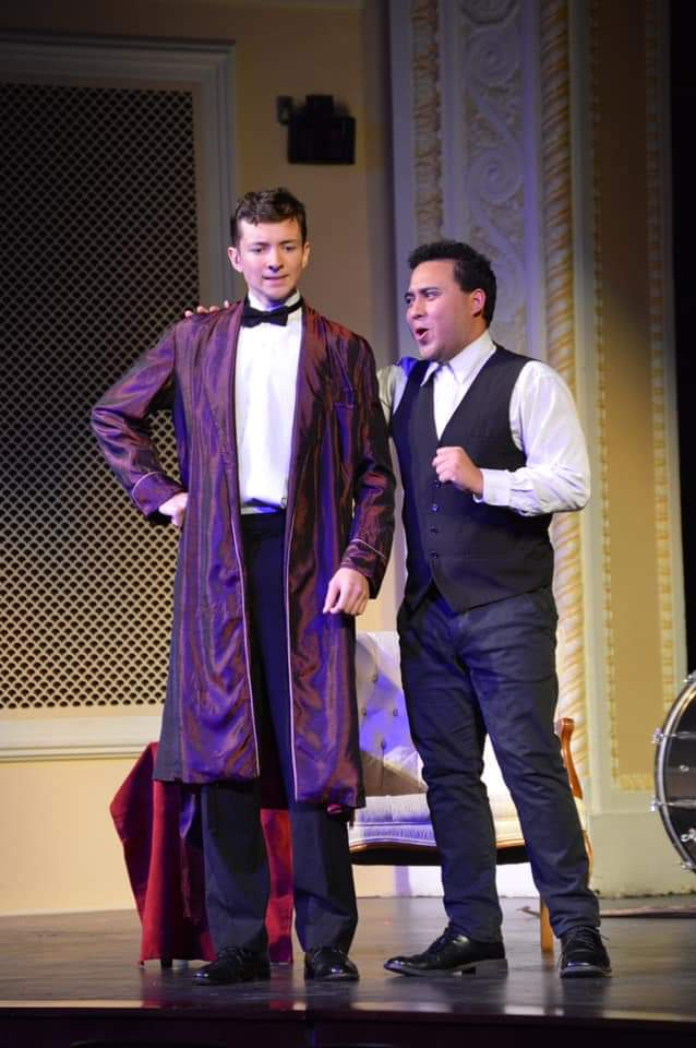 IN REVIEW: tenor MICHAEL FRIEDRICH as Gabriel von Eisenstein (left) and baritone LORENZE SPARKS as Doktor Falke (right) in UNCG Opera Theatre's October 2019 production of Johann Strauss II's DIE FLEDERMAUS [Photograph © by Amber-Rose Romero, Tamara Beliy, & UNCG Opera Theatre]