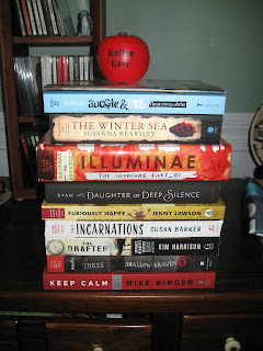 Auggie & Me by RJ Palacio The Winter Sea by Susanna Kearley Illuminae by Kaufman & Kristoff Daughter of Deep Silence by Carrie Ryan Furiously Happy by Jenny Lawson Incarnations by Susan Barker The Drafter by Kim Harrison These Shallow Graves by Jennifer Donnelly Keep Calm by Mike Binder