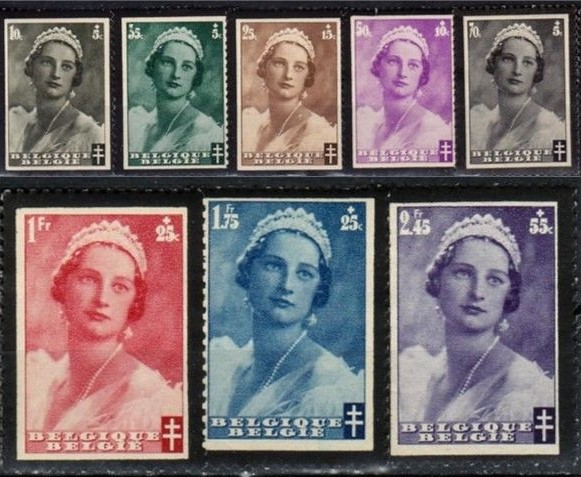 Belgium: Astrid of Sweden Mourning stamps with black edges/perforations