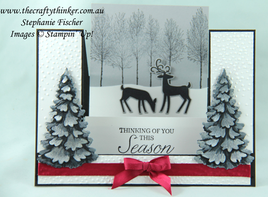 #thecraftythinker  #stampinup  #christmascard  #cardmaking  #winterwoods  #dashingdeer #funfold , Xmas cad, Christmas card, Winter Woods, Dashing Deer, Fun Fold, Centre Step card, Stampin' Up Australia Demonstrator, Stephanie Fischer, Sydney NSW