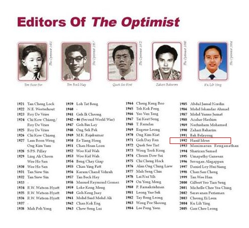 Editor Optimist MHS ( Malacca High School)