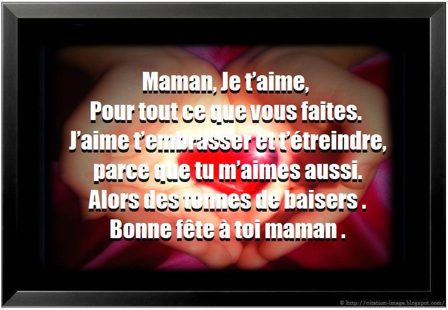 Citation maman je t'aime, citations cartes de souhaits fête des ...