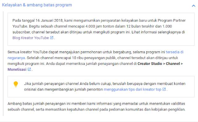 sarat layak chanel youtube untuk bisa mengaktifkan fitur monetisasi
