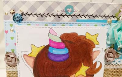 Detalles de parte superior de tarjeta unicornio pijama y peluche