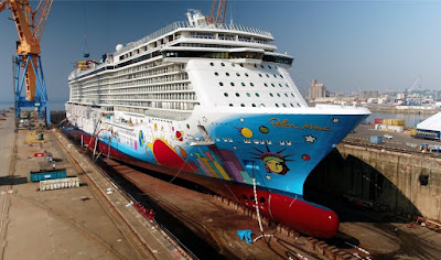 Norwegian Cruise Line's Norwegian Breakaway In DryDock at Damen's Brest France Shipyard.