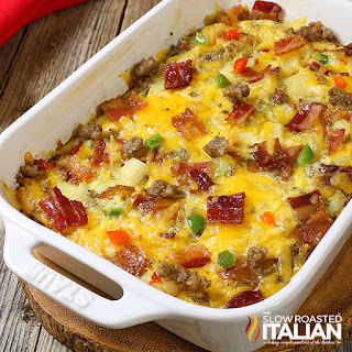 sausage bacon and cheese baked egg casserole