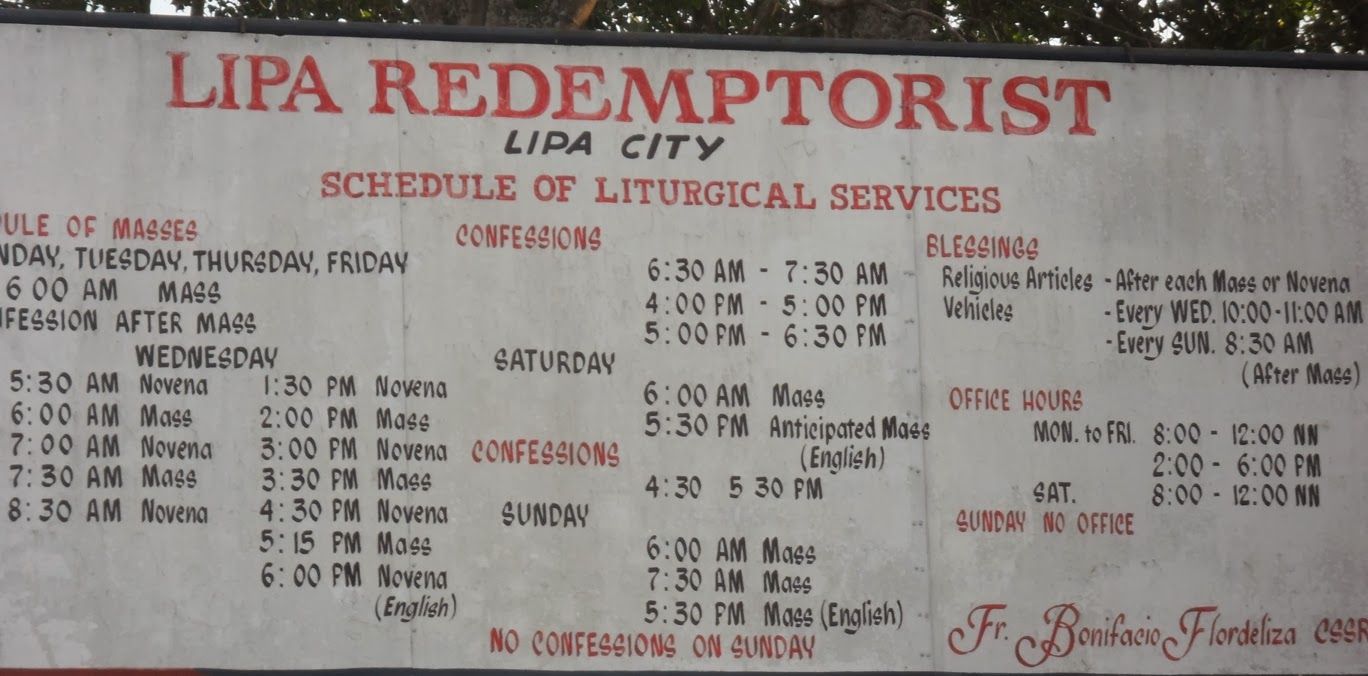 Lipa City Redemptorist Mass Schedule