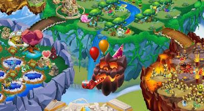 imagen de la isla infierno feliz de dragon city