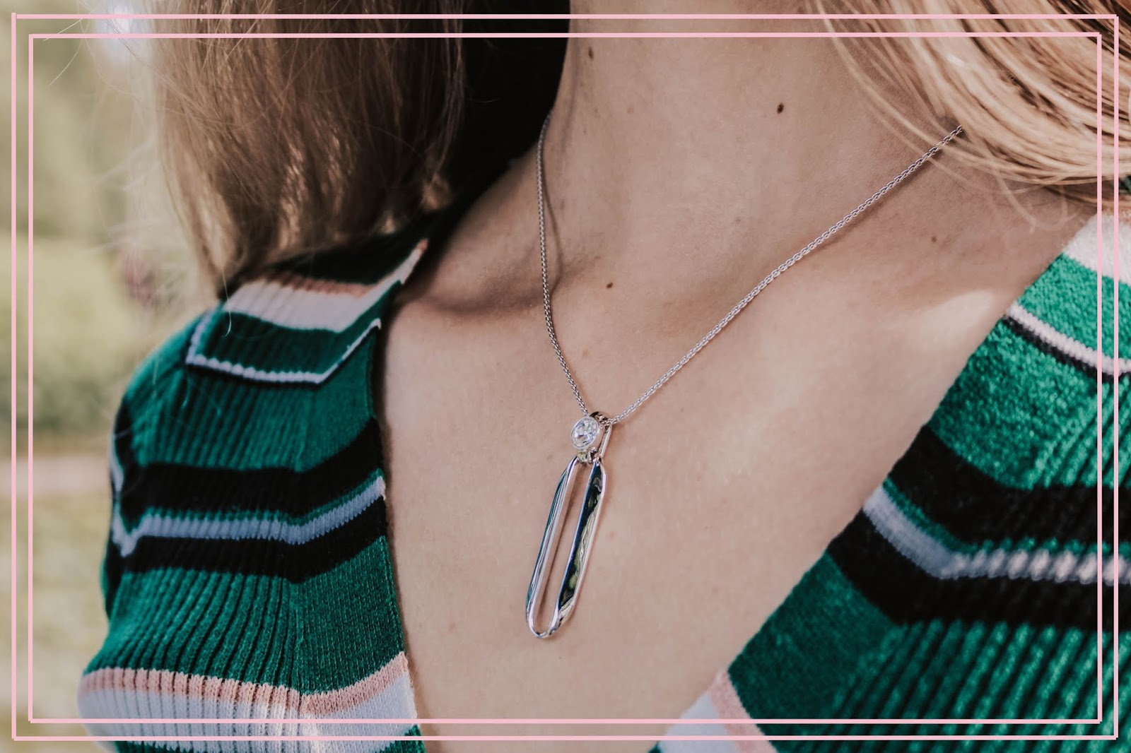 Karen Millen Silver Crystal Ellipse Pendant
