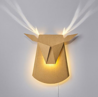 Cardboard Deer Head Light Fixture