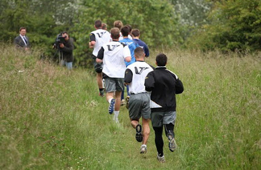 Port Vale players is seen training at Central Forest Park in Hanley