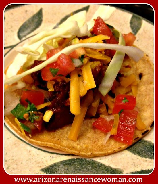 Smoked Brisket Tacos with Ancho Barbecue Sauce and Pico de Gallo
