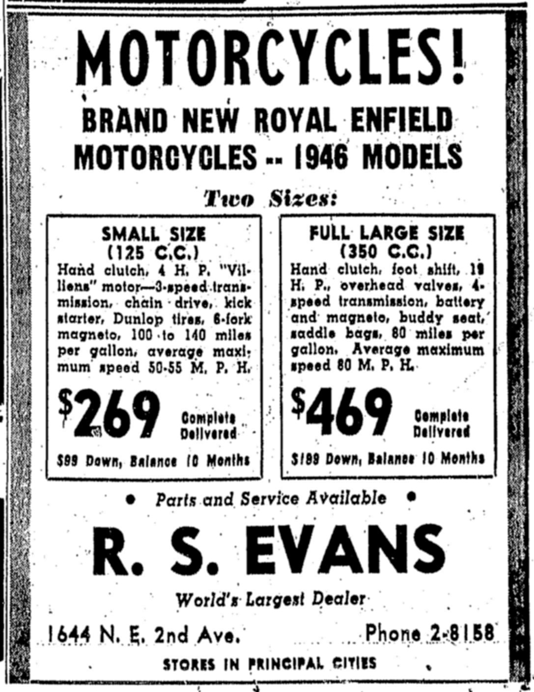 1946 ad for Royal Enfields.