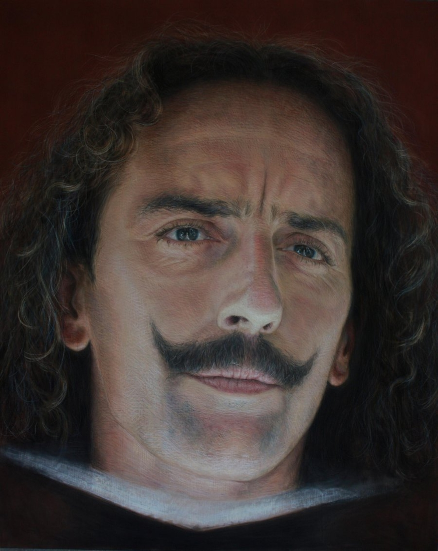 10-Diego-Velazquez-Drawings of Fictional Characters in Pastel on Wooden Canvas