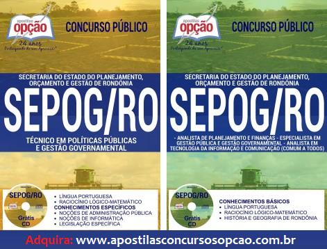 Apostila concurso público Sepog RO - Secretaria de Estado do Planejamento, Orçamento e Gestão de Rondônia 2017.