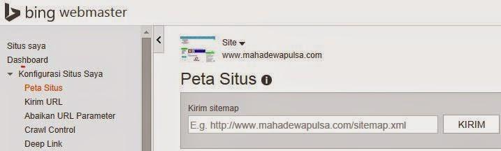 untuk panduan kirim peta situs di webmaster bing