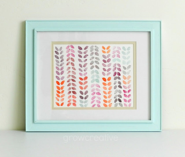Watercolor Leaf painting in Blue Frame