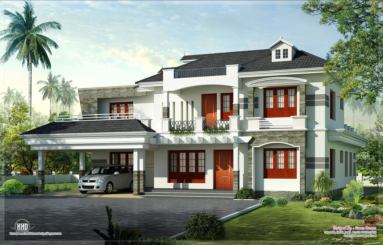 New style kerala luxury home exterior home kerala plans for Colonial style home design in kerala