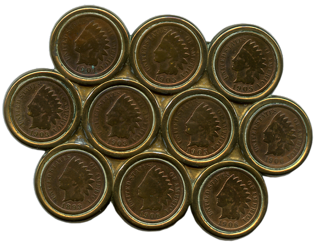 Indian head pennies made into a large man's belt buckle.