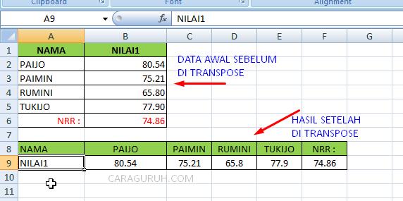 Cara Merubah Format Data Vertikal ke Horizontal di excel