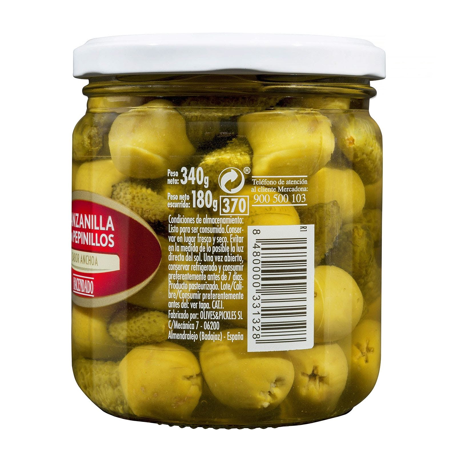 Aceitunas verdes manzanilla con pepinillos sabor anchoa Hacendado